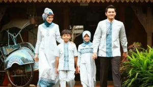 Baju Muslim Keluarga Motif Garis